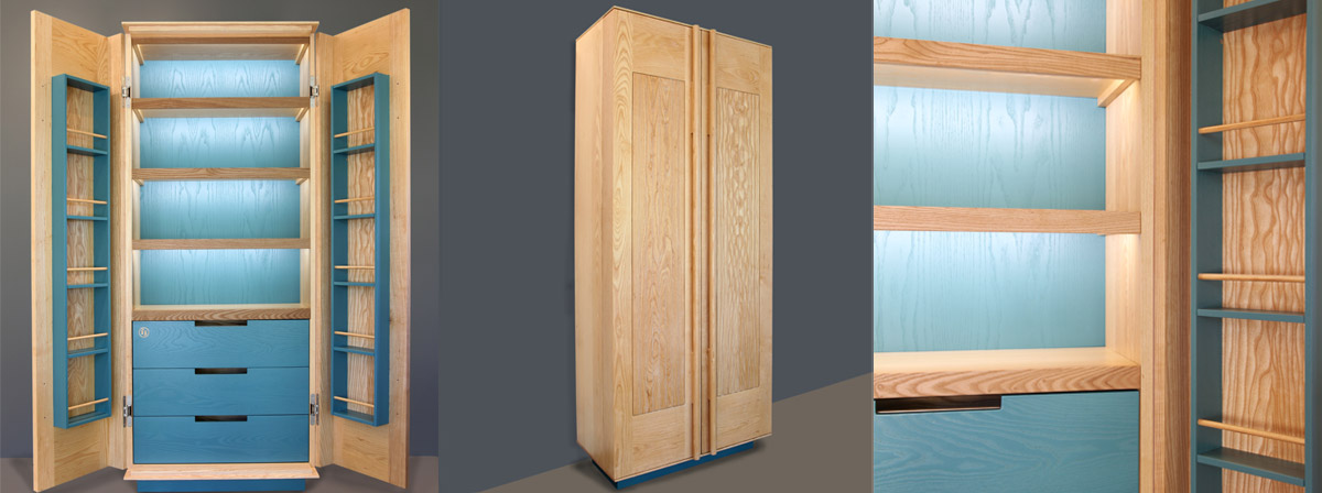 Contemporary style pantry made in solid Ash